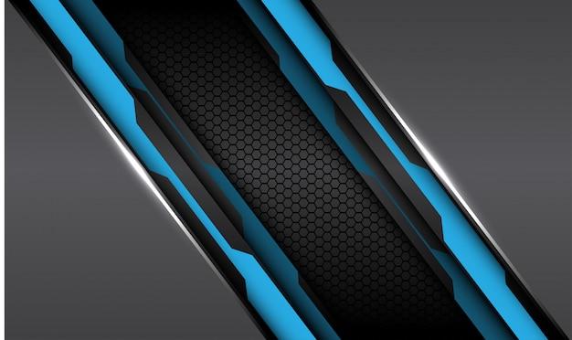 Blauw zwart circuit lijn grijs metallic met donkere zeshoek mesh achtergrond.