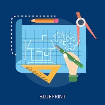 Blauwdruk achtergrond ontwerp
