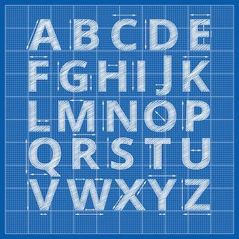 Blauwdruk alfabet. opstellen van blauwdruk papieren brieven.