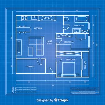 Blauwdruk arhitectural plan voor een huis