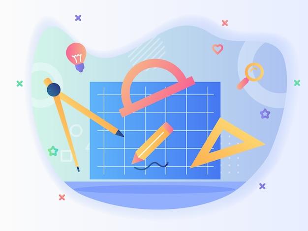 Blauwdruk concept plan tools boog liniaal driehoek potlood papierwerk met vlakke stijl.