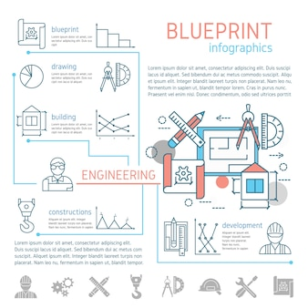 Blauwdruk en engineering lineaire infographics