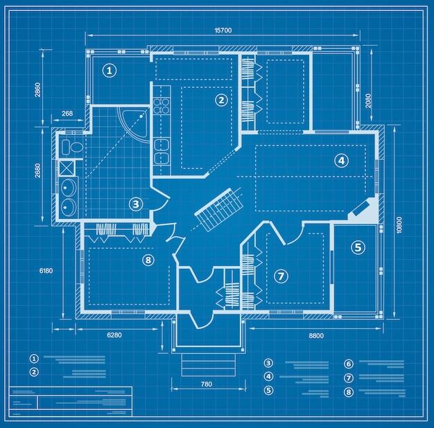 Blauwdruk huisplan tekening. figuur van de notatie