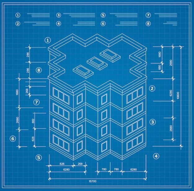 Blauwdruk isometrisch plan van een residentieel gebouw