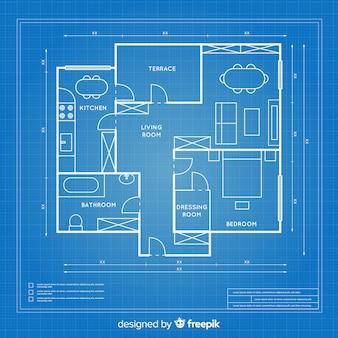 Blauwdruk ontwerpplan van een huis