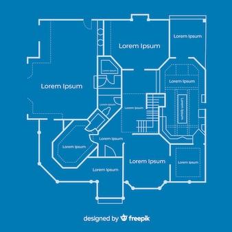 Blauwdruk schets plan van een huis
