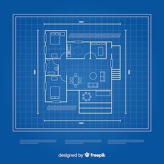 Blauwdruk van een huis bovenaanzicht