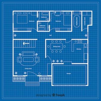 Blauwdruk van een huis met details