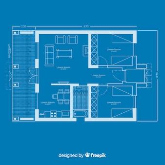Blauwdruk van een huis modern plan
