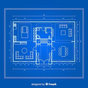 Blauwdruk van een huis op blauwe achtergrond