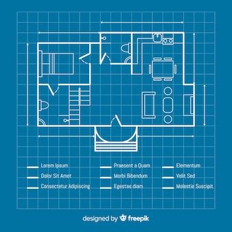 Blauwdruk van een huisschetsplan