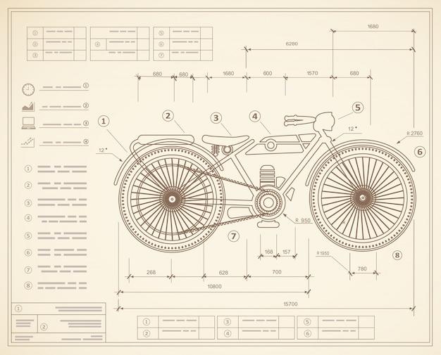 Blauwdrukplan schets concept motor van motorfiets.