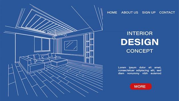 Blauwdrukschets van een moderne woonkamer