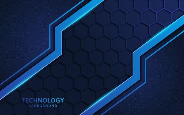 Blauwe 3d achtergrond met technologiestijl en hexagon vormentextuur.