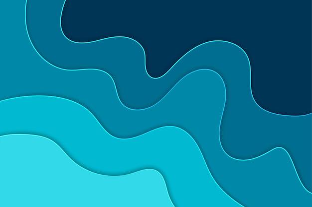 Blauwe 3d golvende abstracte laag papercut achtergrond