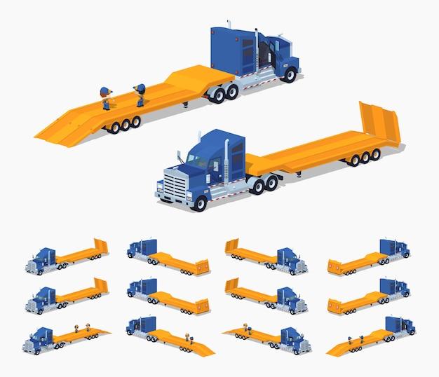 Blauwe 3d lowpoly isometrische zware vrachtwagen met aanhangwagen