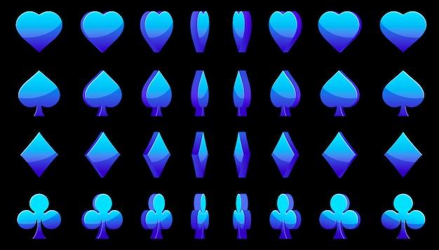 Blauwe 3d symbolen pokerkaarten, animatie spelrotatie
