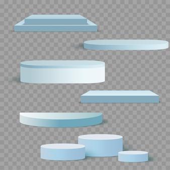 Blauwe 3d vierkant en cirkel set sjablonen voor presentatie met schaduw achtergrond. vector
