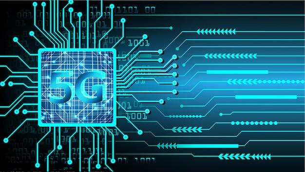Blauwe 5g cpu cyber circuit toekomstige technologie concept achtergrond
