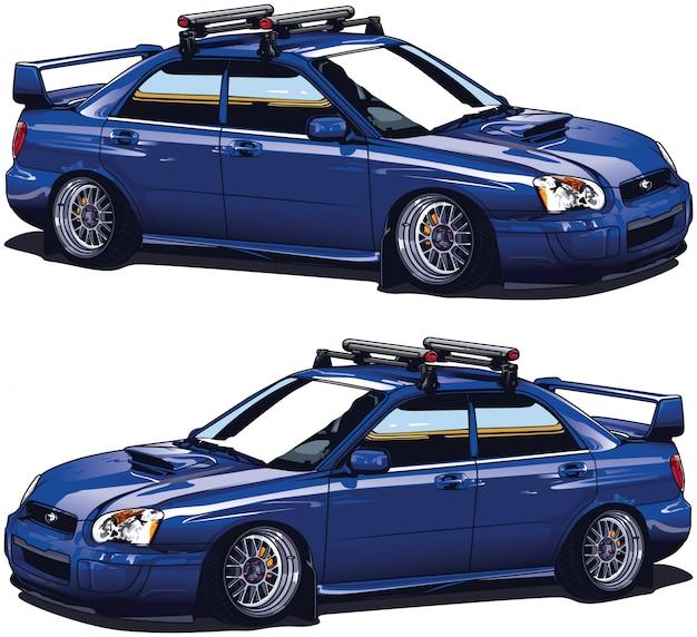 Blauwe aangepaste auto