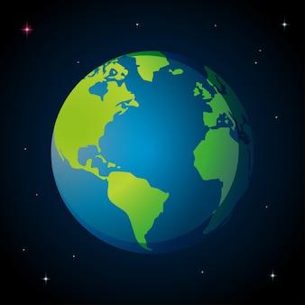 Blauwe aarde in de ruimte
