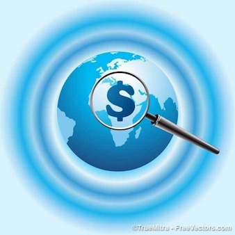 Blauwe aarde met dollar lens