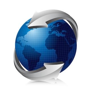 Blauwe aarde met zilveren pijlen vectorillustratie