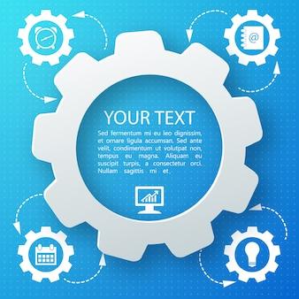 Blauwe abstracte achtergrond met pictogrammen bedrijfs en uw tekst in middenvlakte