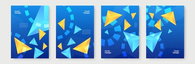 Blauwe abstracte geometrische omslagontwerpen met kleurovergang, trendy brochuresjablonen, kleurrijke futuristische posters. vector illustratie