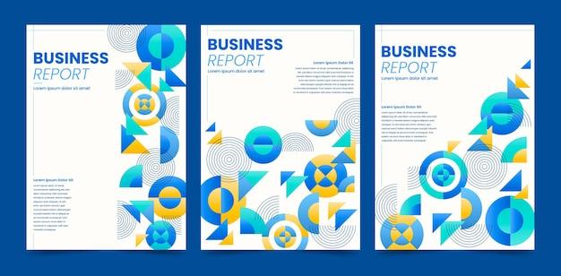 Blauwe abstracte geometrische zakelijke omslagcollectie