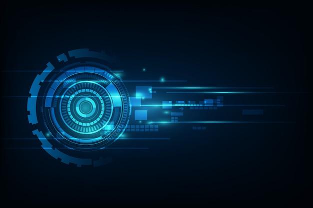 Blauwe abstracte hallo de technologie van achtergrond internet technologie illustratie. oog scan virus-computer. bewegingsbeweging.