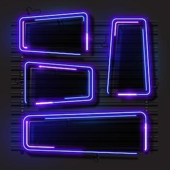Blauwe abstracte neon banner set.
