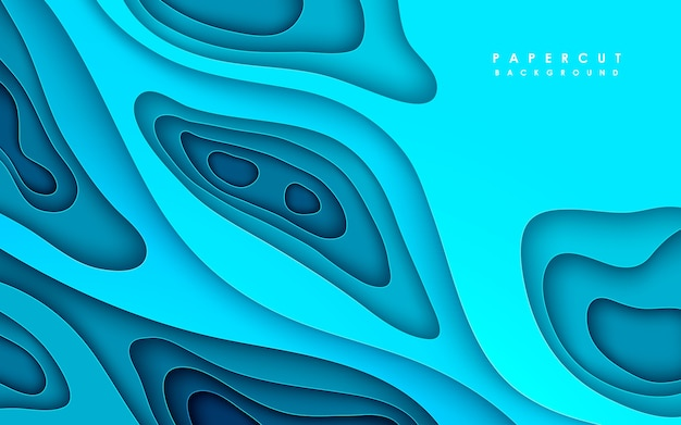Blauwe abstracte papercut achtergrond