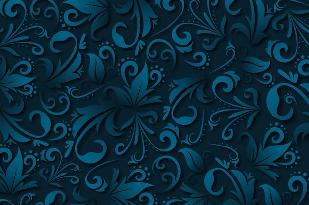 Blauwe abstracte sierbloemenachtergrond