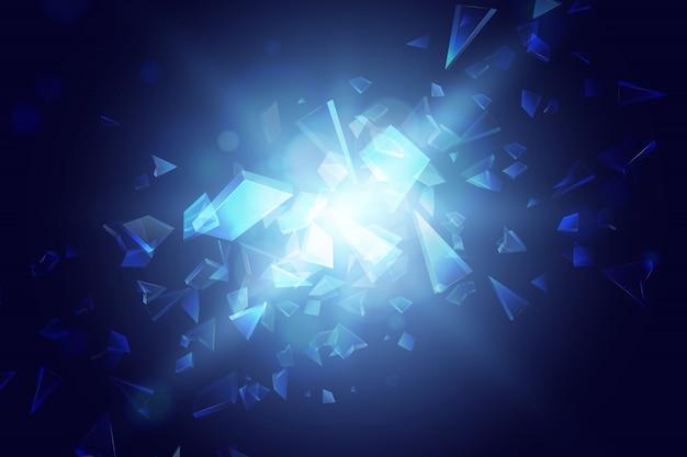 Blauwe abstracte veelhoek explosie achtergrond