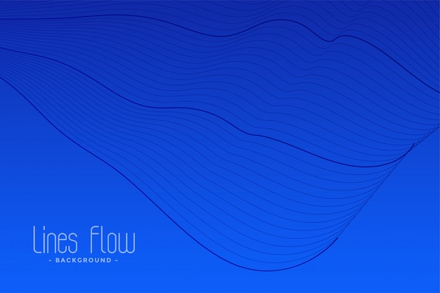 Blauwe abstracte vloeiende lijnenachtergrond