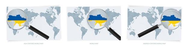 Blauwe abstracte wereldkaarten met vergrootglas op kaart van oekraïne
