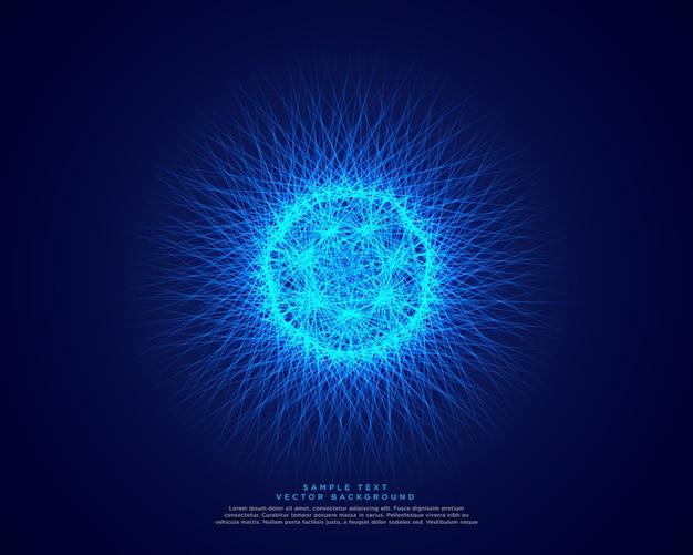 Blauwe abstracte wetenschapsachtergrond met gloeiende atoomenergie