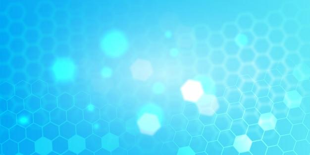 Blauwe abstracte zeshoek technische achtergrond