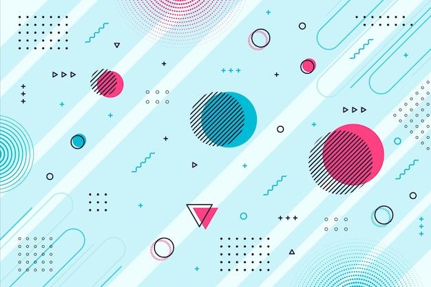 Blauwe achtergrond memphis geometrische vormen