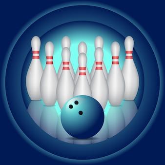 Blauwe achtergrond met bowling pinnen en bowlingbal.