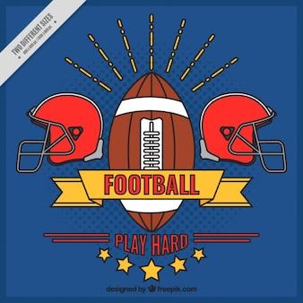 Blauwe achtergrond met de hand getekende american football kenteken