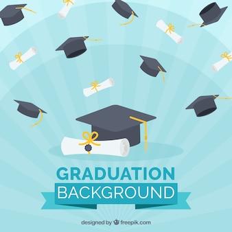 Blauwe achtergrond met diploma's en afstuderen caps