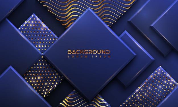 Blauwe achtergrond met een combinatie gloeiende gouden stippen en lijnen.