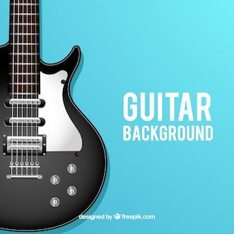 Blauwe achtergrond met elektrische gitaar in realistische ontwerp