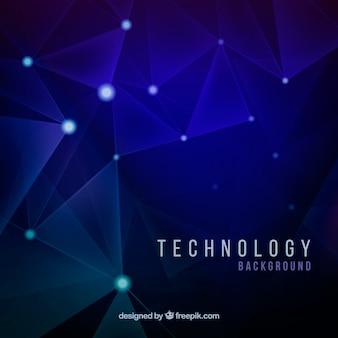 Blauwe achtergrond met glanzende vormen en technologische aansluitingen