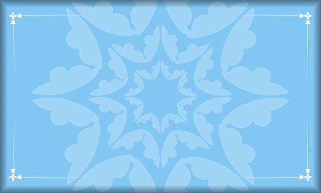 Blauwe achtergrond met indiase witte ornamenten voor ontwerp onder uw logo of tekst