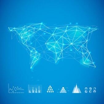 Blauwe achtergrond met kaart van de wereld en grafieken