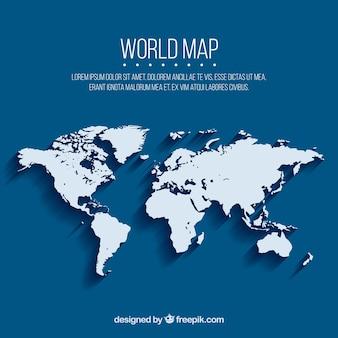 Blauwe achtergrond met kaart van de wereld