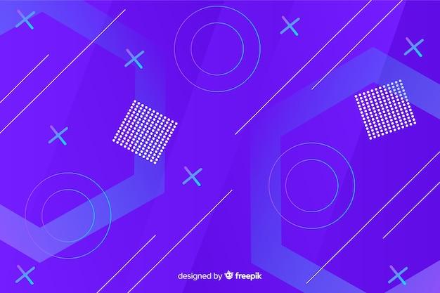 Blauwe achtergrond met kleurovergang geometrische vormen